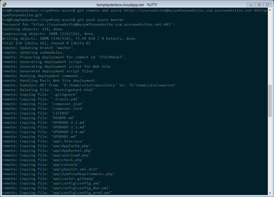 Deploying to Microsoft Azure Website Cloud (Symfony 3 4 Docs)