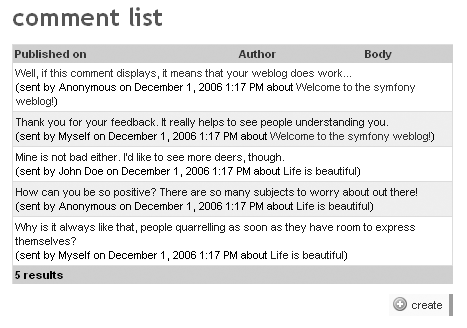 Stacked layout in the list view of the comment module