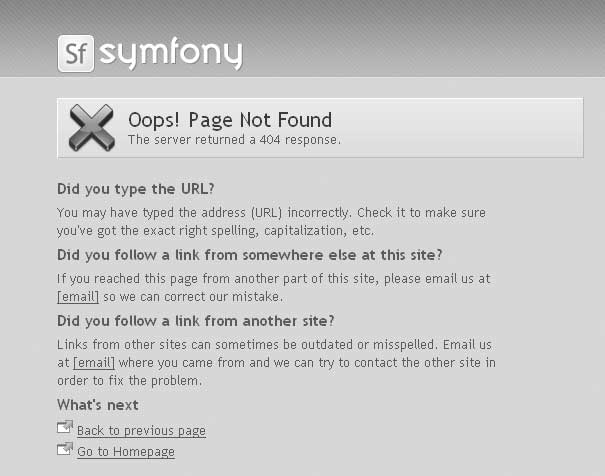 Default 404 error page