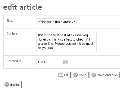 edit view of the article module in the backend application