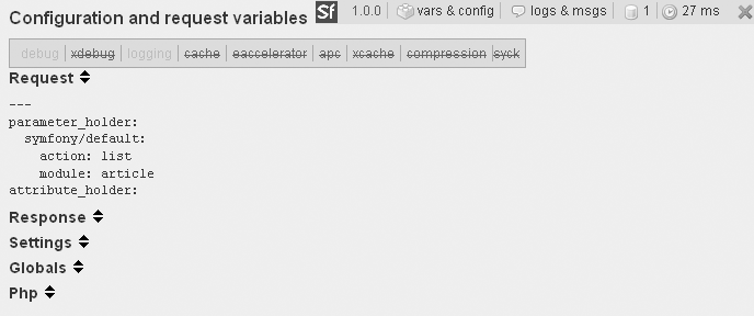 The vars & config section shows all the variables and constants of the request