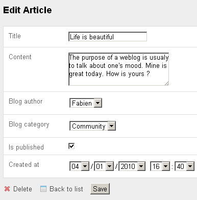 vista edit del modulo article nell'applicazione backend