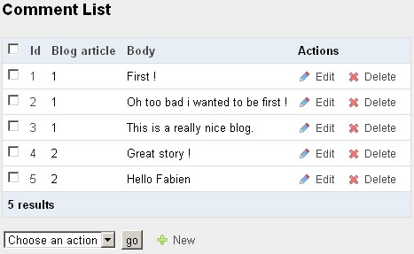 Interactions in the list view