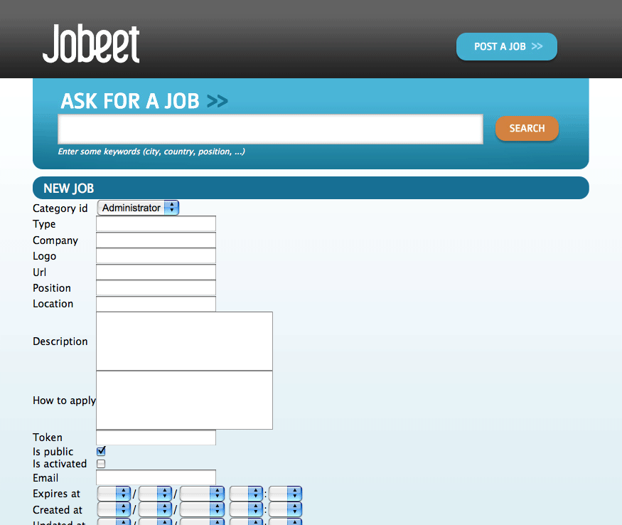 The job module with a layout and assets