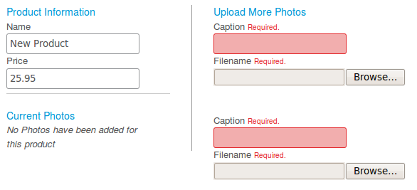 Product form failed photo validation