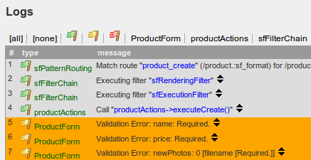 Logging of validation errors