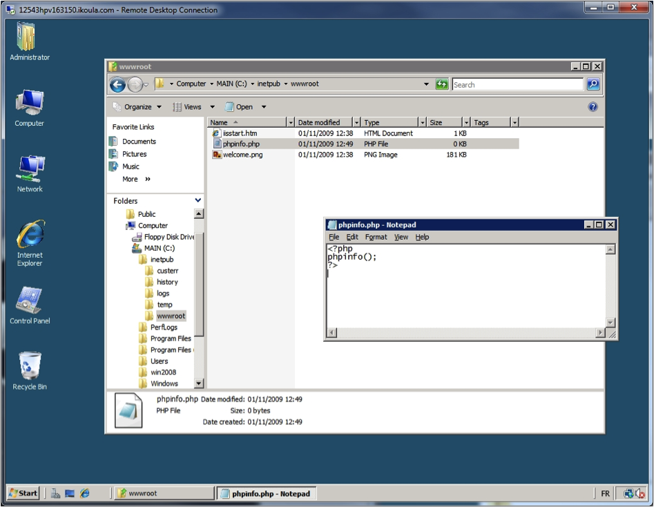 Windows Explorer - Create phpinfo.php.