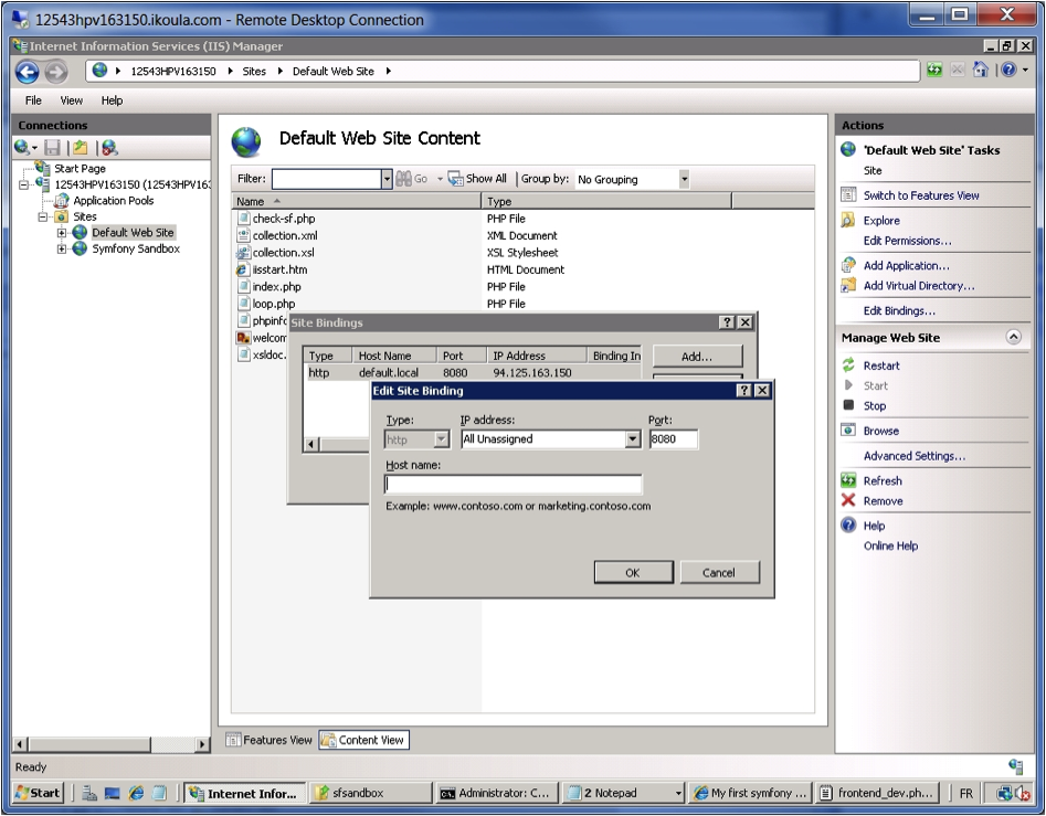 "IIS Manager - Edit Binding for ""Default Web Site""."