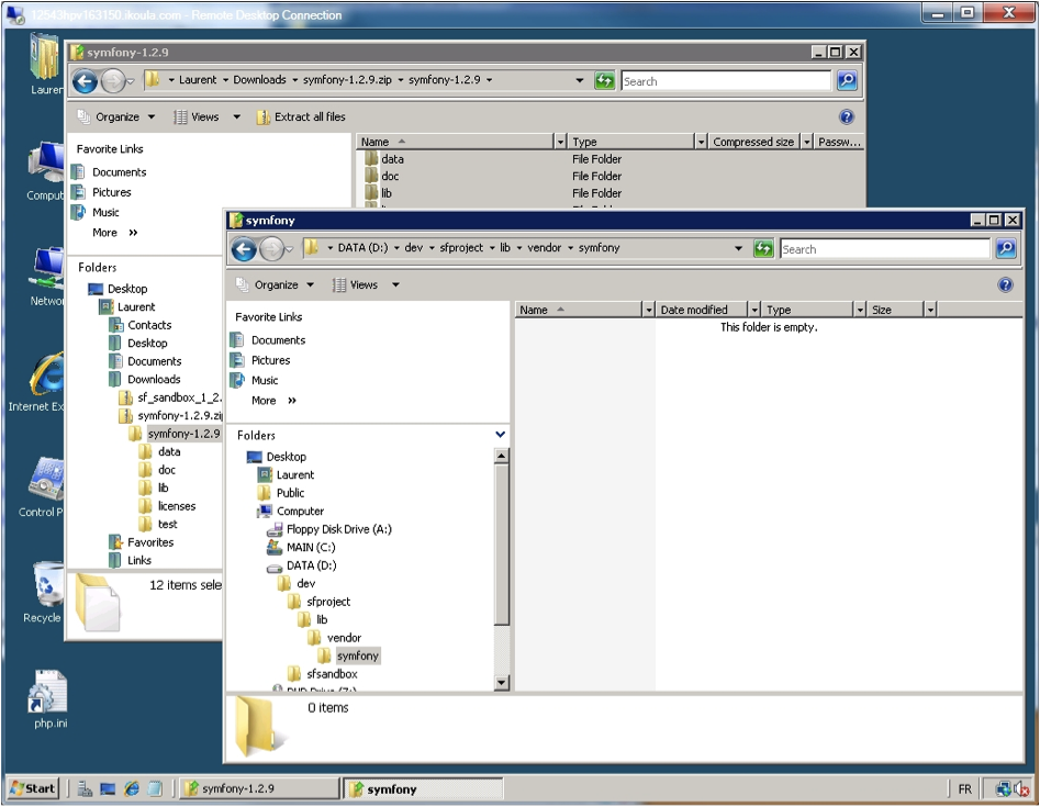 Windows Explorer - the project directory tree.
