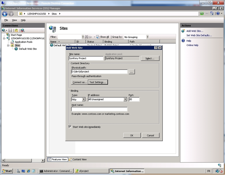 IIS Manager - Add Web Site.
