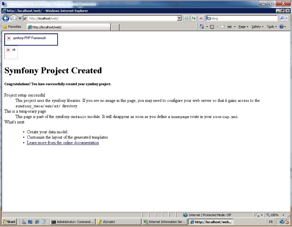 Internet Explorer - Symfony Project Created - no Images.