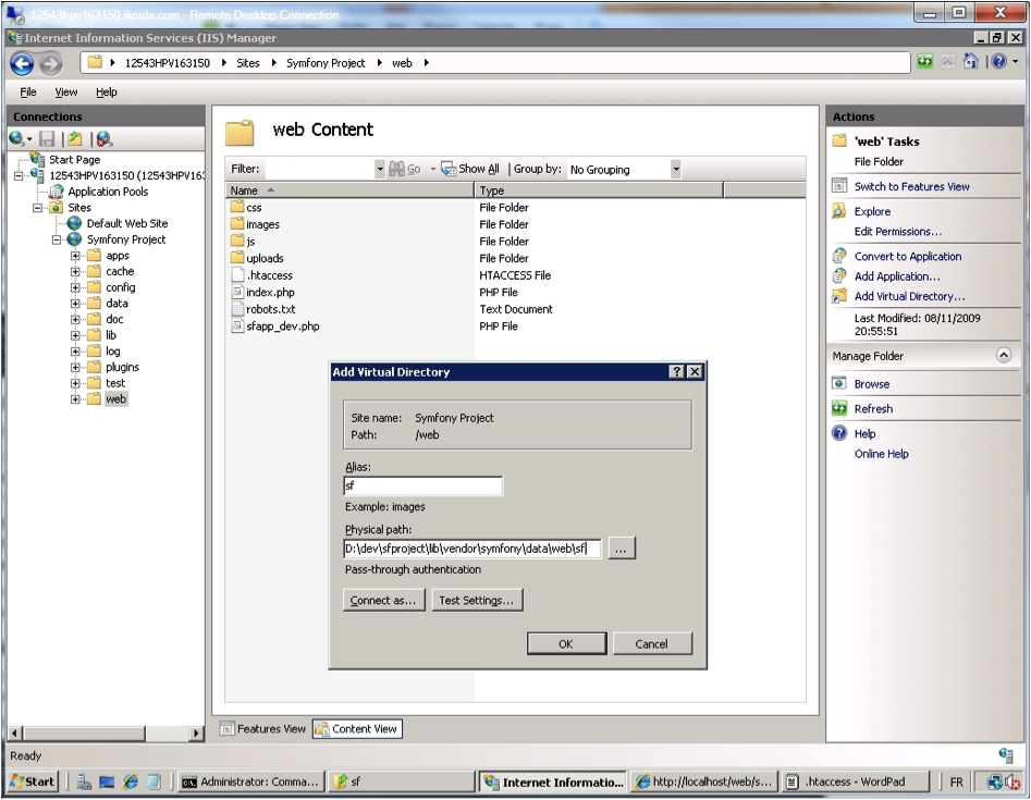 IIS Manager - Add sf Virtual Directory.