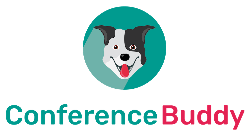 Conference Buddy Logo - a dog with a red tongue sticking out