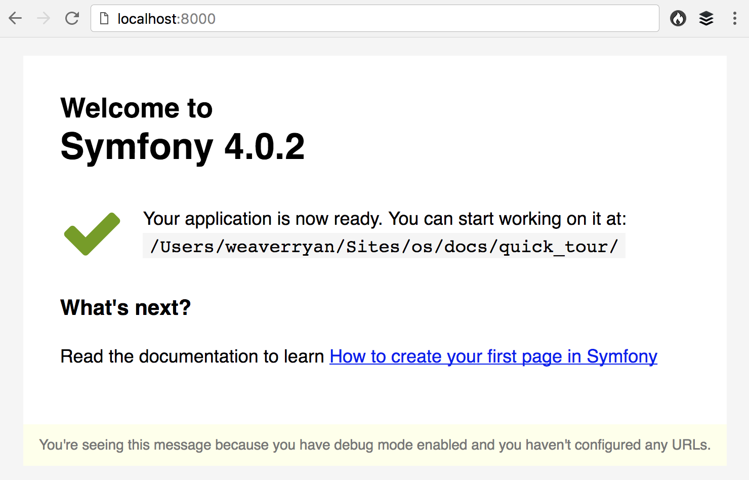 The Symfony Welcome Page in Symfony 4.3 and earlier versions