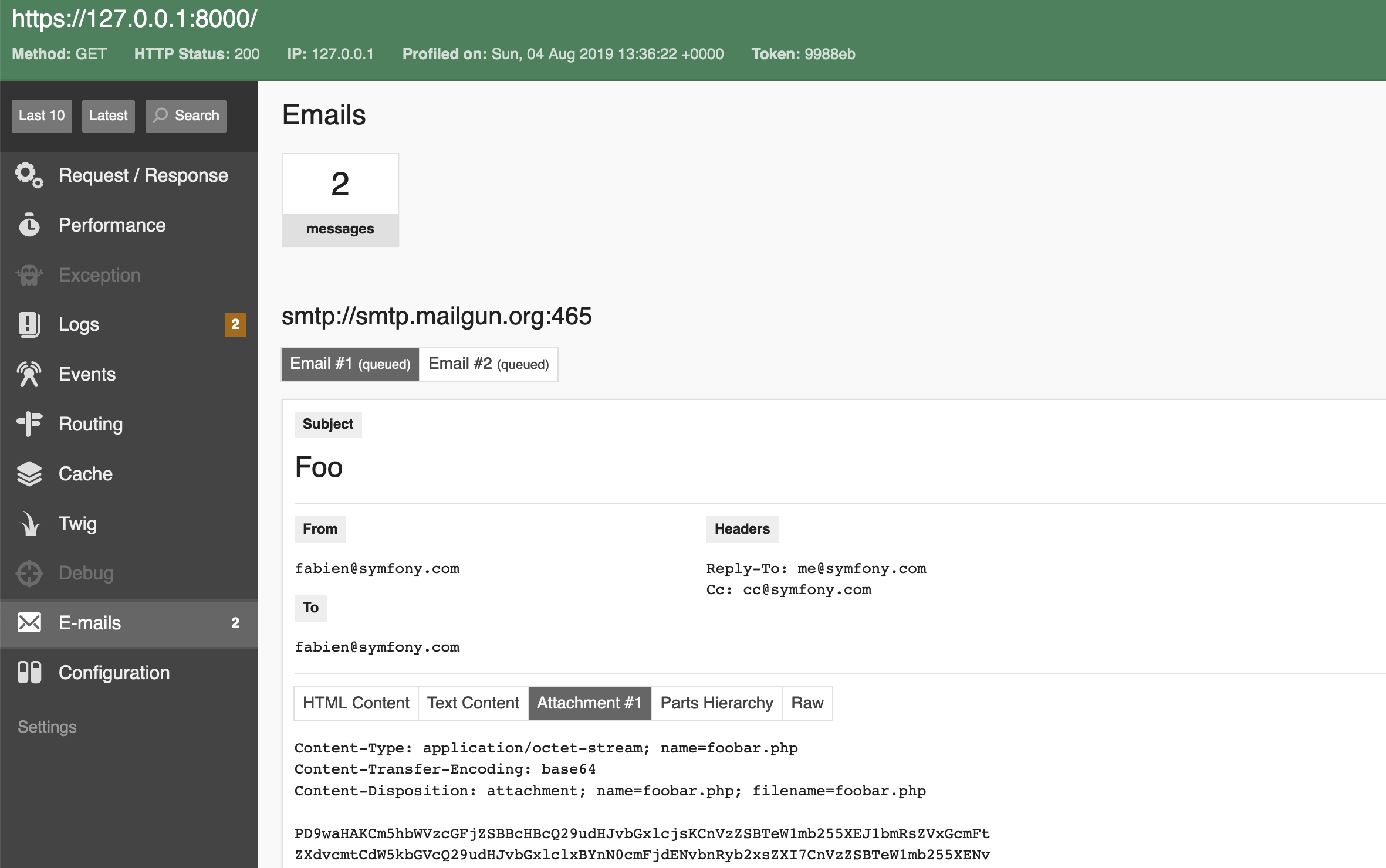 The new Mailer web profiler panel in Symfony 4.4