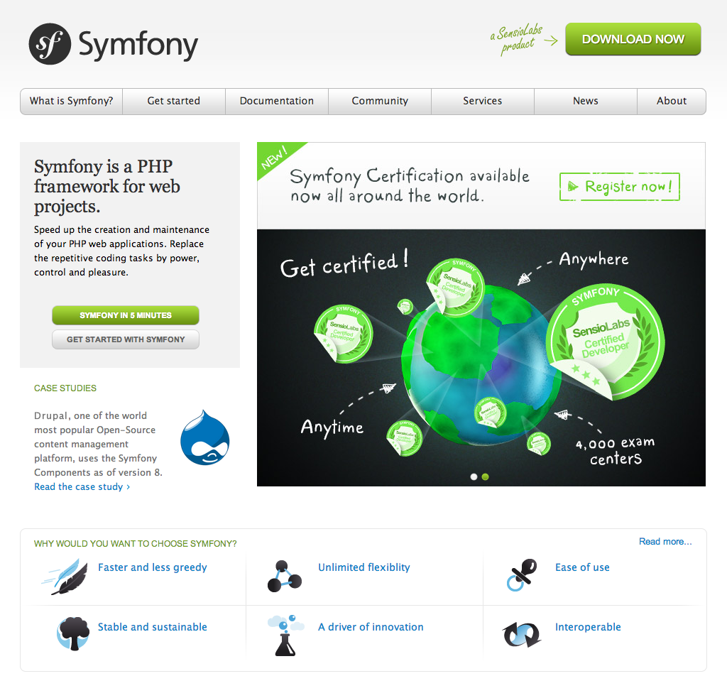 The new Symfony website introduced on March 4, 2011