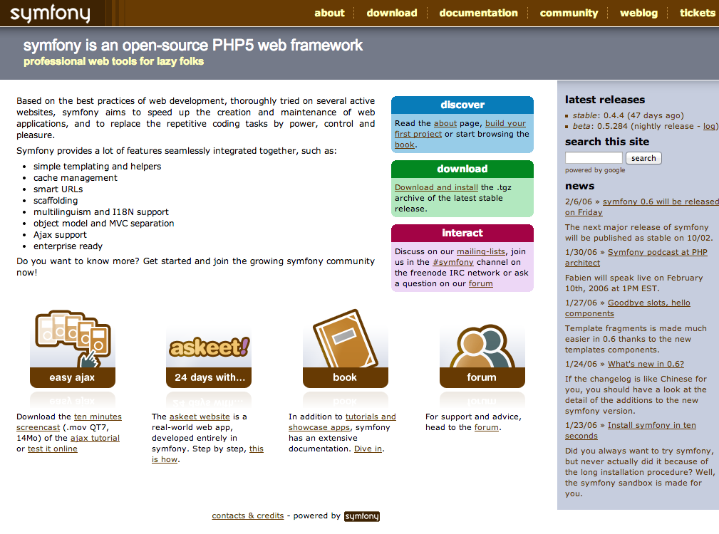 The original Symfony website as of February 9, 2006