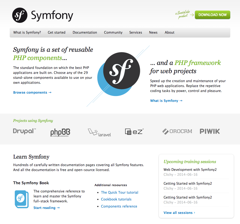The new Symfony website introduced as of June 16, 2014