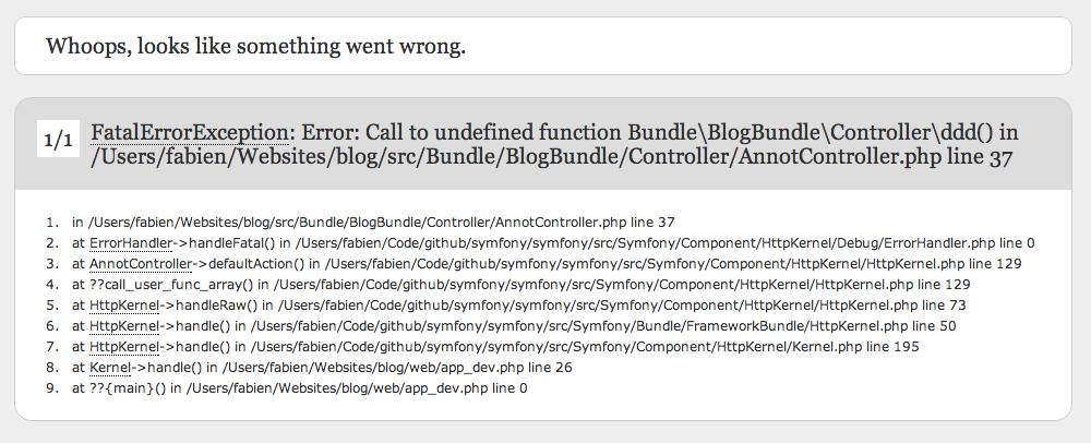 A fatal error in Symfony 2.2