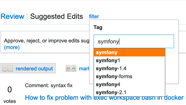 Edit filter autocomplete